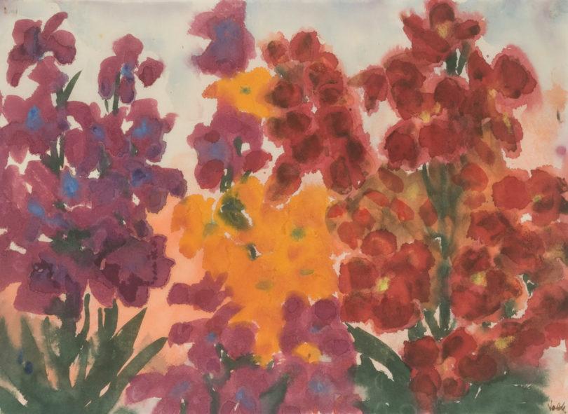Emil Nolde, Gelbe, rote und violette Blumen (Sommerblumen), um 1930, Galerie Schwarzer