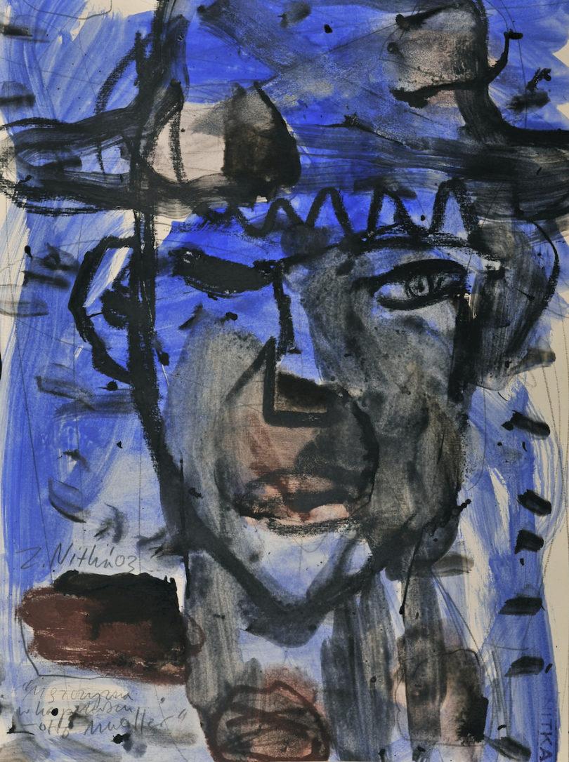 Zdzisław Nitka, Mężczyzna w kapeluszu Otto Mueller (Mann mit Hut Otto Mueller), 2003 Kreide und Tempera auf Papier, Privatsammlung © Zdzisław Nitka