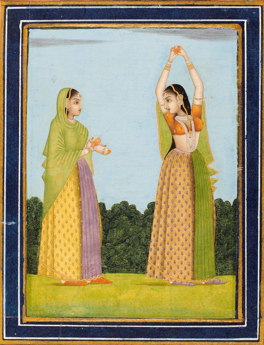"""Damenwahl Die indische Moghul-Zeit hat wunderbare Miniaturmalereien hervorgebracht. Bei den Motiven handelt es sich meist um mythische Szenen, die Darstellung ruhmreicher Kriege oder herrschaftlichen Lebens. Die Galerie Kevorkian ist auf antike Kunst der indischen und islamischen Kultur spezialisiert, aus Paris bringt sie """"Zwei Frauen in einer Landschaft"""