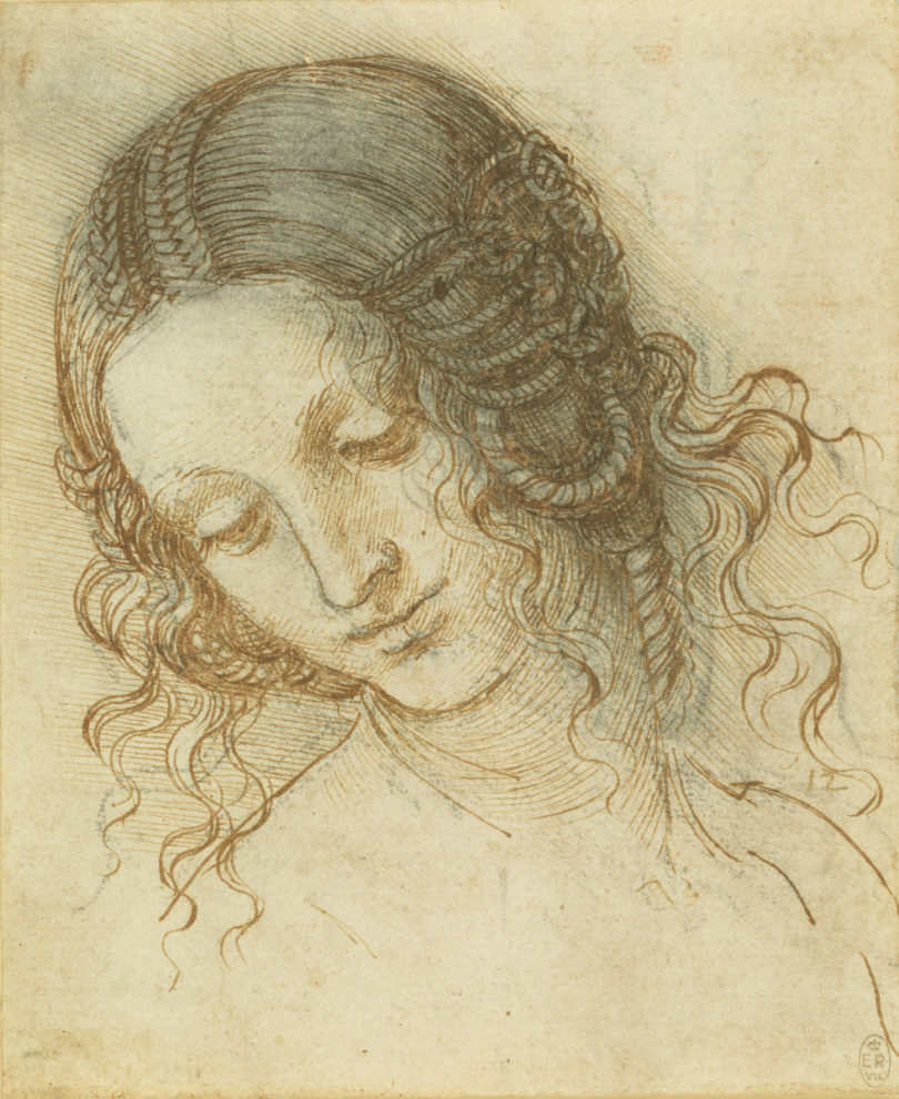 Leonardo da Vinci, Der Kopf von Leda, um 1505–1508. Aktuell zu sehen in einer Ausstellung der Walker Art Gallery, Liverpool. Foto: Royal Collection Trust / (c) Her Majesty Queen Elizabeth II 2018