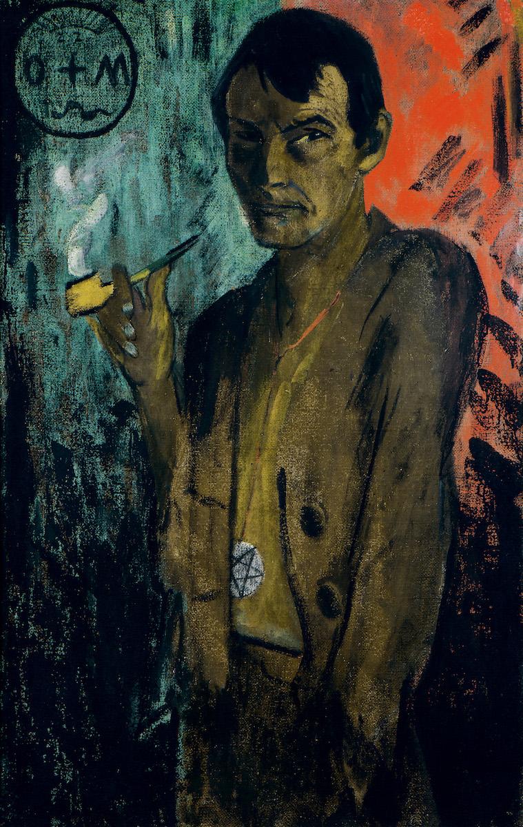 Otto Mueller, Selbstbildnis mit Pentagramm, um 1924, Leimfarbe auf Rupfen, Von der Heydt-Museum Wuppertal, Foto: Von der Heydt-Museum Wuppertal / Antje Zeis-Loi, Medienzentrum Wuppertal