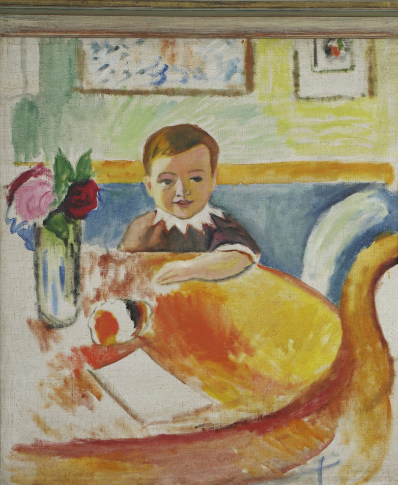 August Macke, Bildnis Walter Macke mit Rosenstrauss, 1913, Öl auf Leinwand, Galerie: Henze Ketterer, Foto: Henze Ketterer