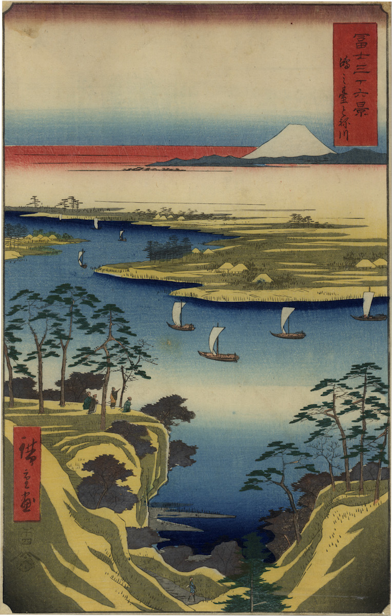 Landschaftsblatt von Ando Hiroshige (1797–1858), datiert auf 1858, mit einer Ansicht des Bergs Fuji, Taxe: 1200 Euro (Cpoyright: Signens Kunstauktionen)