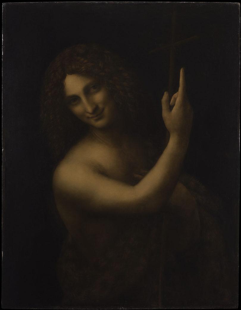 """Leonardo da Vinci, """"Johannes der Täufer"""", um 1513/16, ein Wunderwerk aus Licht und Schatten"""", Tony Querrec/RMN-Grand Palais/Musée du Louvre"""