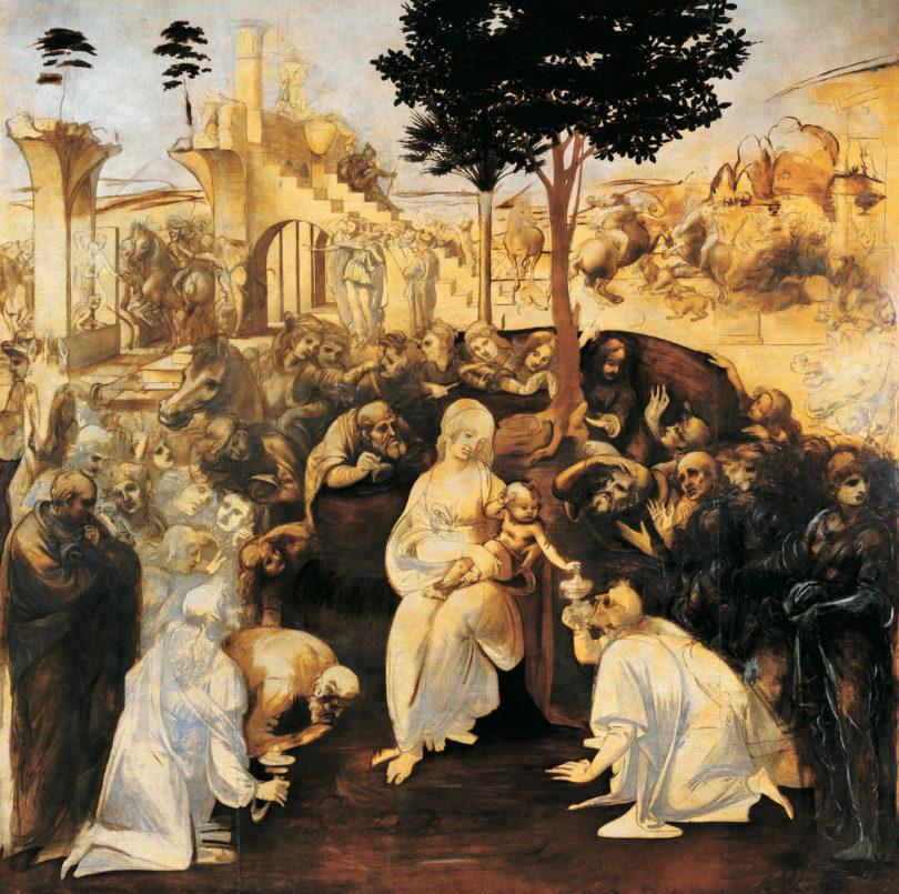 """Leonardo da Vinci, """"Anbetung der heiligen drei Könige"""