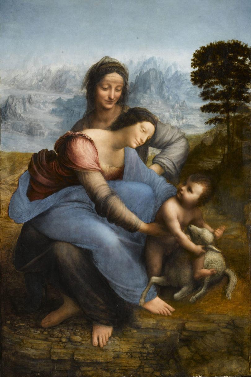 """Leonardo da Vinci, """"Anna selbdritt"""" im Louvre, um 1504-18, Mensch und Natur verschmelzen in seidigem Schimmer der Sfumato-Malerei, Foto: René Gabriel Ojéda/RMN/Musée du Louvre"""