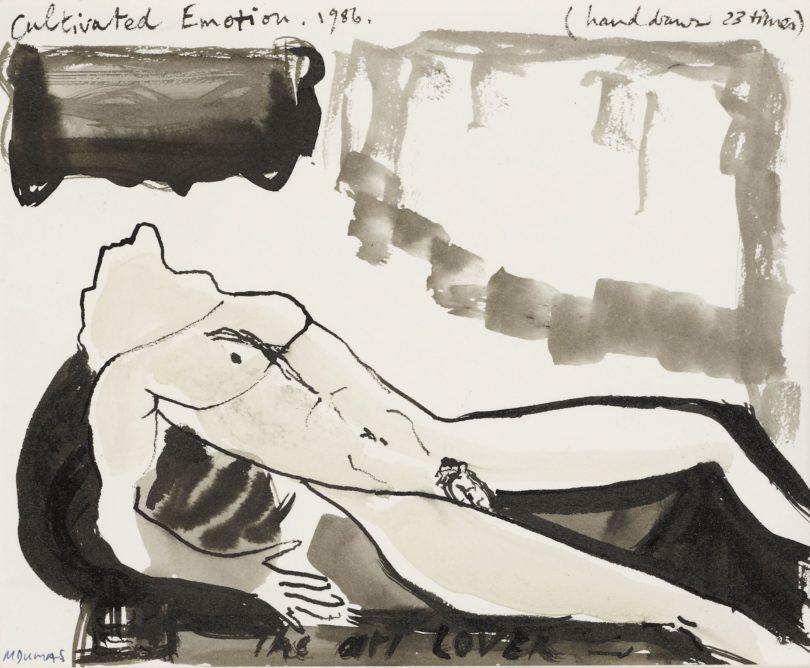 """Marlène Dumas, """"Cultivated Emotion"""", 1986, Aquarell und Tusche auf Papier, kommt bei Van Ham in Köln zum Aufruf, Foto: Van Ham, Köln"""