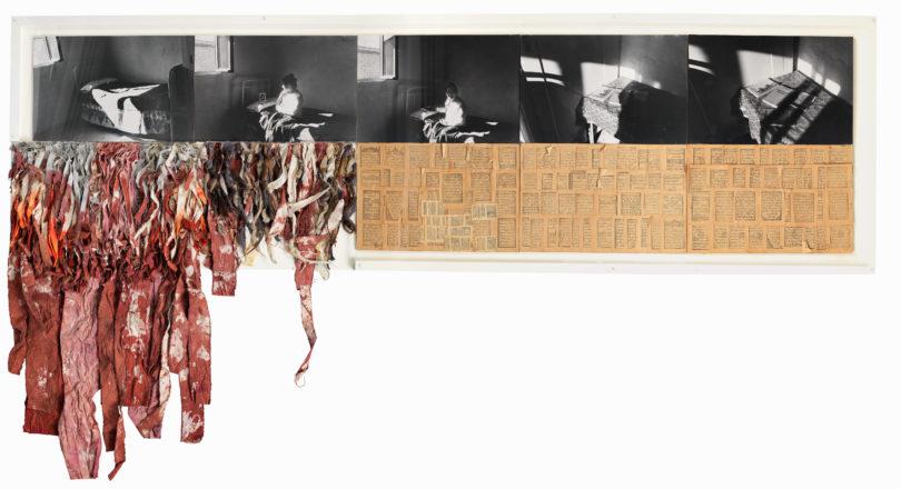 """Nil Yalter (mit Nicole Croiset), """"Rahime, Kurdish Woman from Turkey"""", 1979 (Detail)16 Fotografien, 6 Zeichnungen: Bleistift auf Papier, farbige Textilfetzen (Baumwolle), Gummistempel auf Papier, Video Detail: Fotografie, Gummistempel auf Papier, farbige Textilfetzen (Baumwolle), Vehbi Koç Foundation Contemporary Art Collection, Istanbul © Nil Yalter, Foto: MOT International, London"""