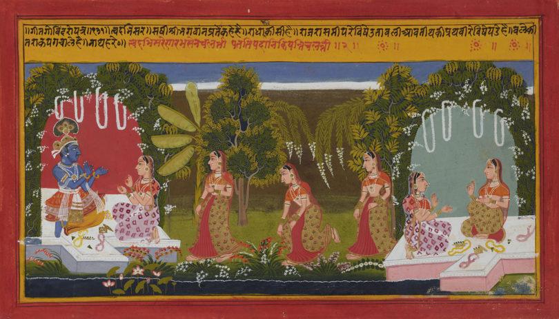 Radha auf dem Weg zu Krishna, Folio aus einem Gitagovinda-Manuskript, Werkstatt in Mewar, Indien, Rajasthan, datiert 1714, Geschenk Sammlung Horst Metzger, Museum Rietberg Zürich, Bild: Museum Rietberg, Zürich