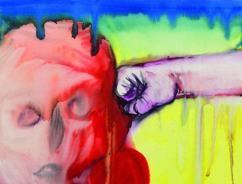 "Miriam Cahn, ""o.t., 14.12.2017"", 2017 Aquarell auf Papier, 34 x 44 cm, Fotograf: Stefan Jeske, Copyright: Miriam Cahn, Courtesy the artist and Meyer Riegger, Berlin/Karlsruhe"