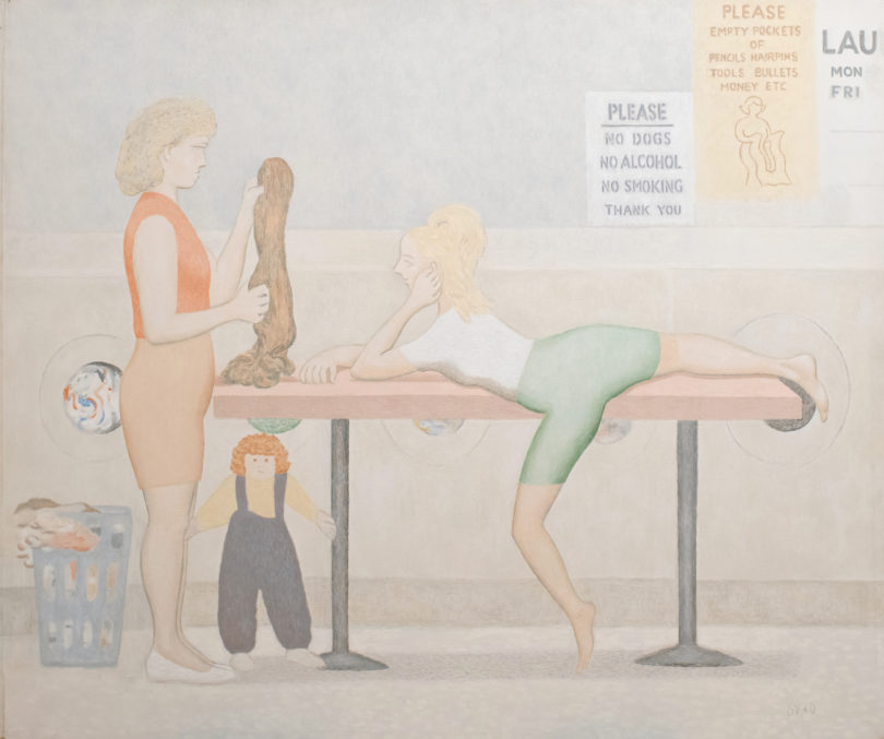 "David Byrd, ""Woman on Laundromat Table"", undatiert, Öl auf Leinwand, angeboten bei Galerie Kadel Willborn, Art Basel, Bild: Daniel Blau, München"