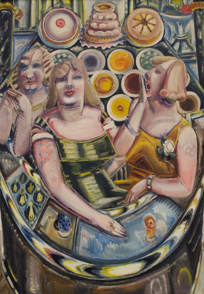 """Paul Kleinschmidt, """"Drei Frauen an der Kuchenbar"""", 1933, Öl auf Leinwand, 166 x 116 cm, Privatbesitz, Foto: Paul Kleinschmidt Gesellschaft e. V., Ulm"""
