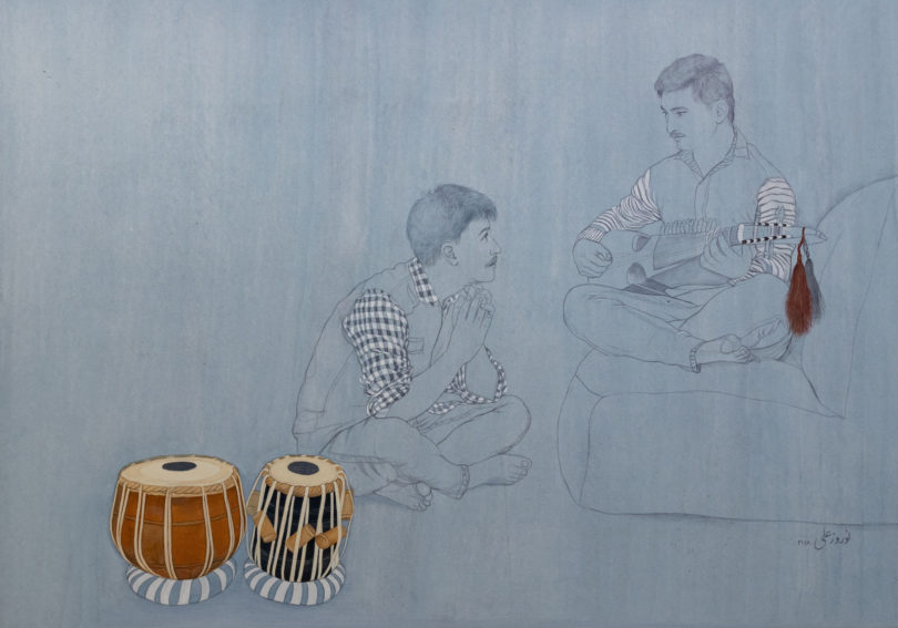 Norouz Ali, Ohne Titel, Mischtechnik, 2018, 30,5x42 cm, Bild: Museum Rietberg, Zürich