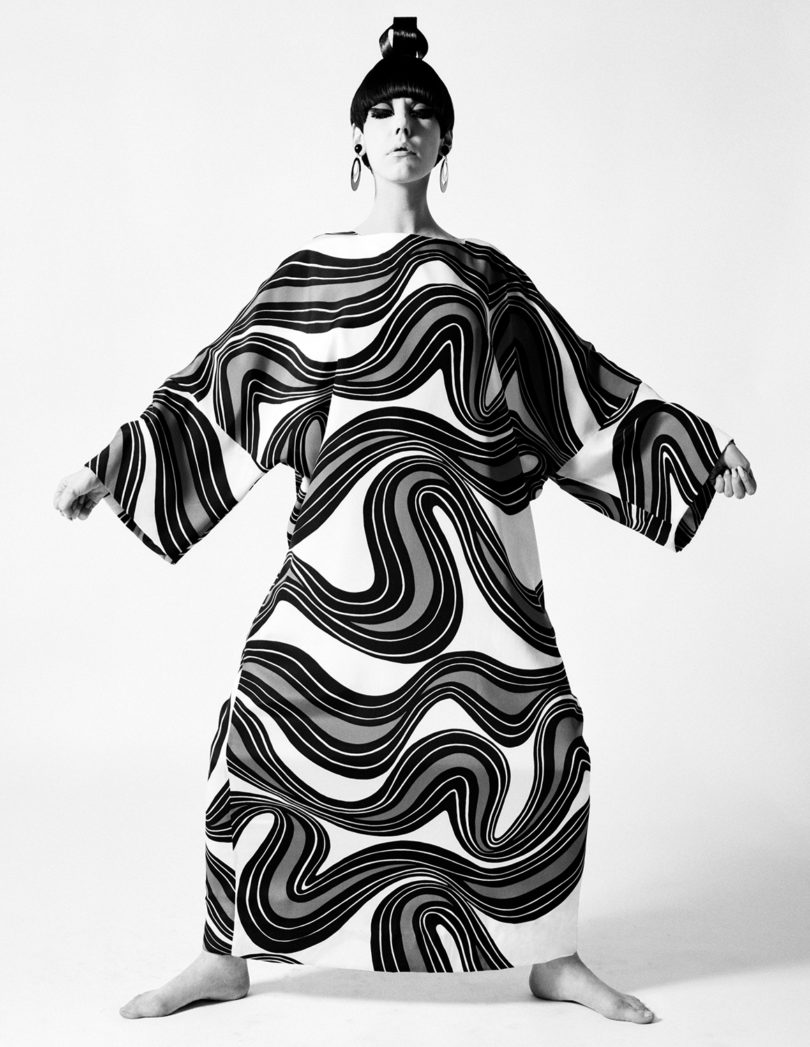 Peggy Moffitt modeling caftan designed by Rudi Gernreich, Resort 1967 Collection. Photograph © William Claxton, LLC, courtesy of Demont Photo