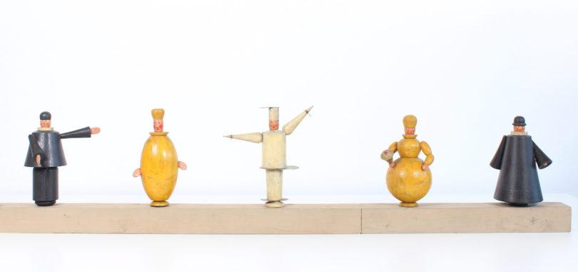 Eberhard Schrammen, fünf Handpuppen, um 1923, Dauerleihgabe der Theaterwissenschaftlichen Sammlung der Universität zu Köln an die Klassik Stiftung Weimar, Foto: Klassik Stiftung Weimar