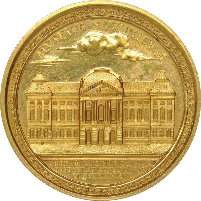 Christian Josef Krüger, Kurfürst Friedrich August III., Verdienstmedaille für Kunst und Wissenschaft (Museum Saxonicum), 1786, Kupfer, vergoldet, Foto: © SKD