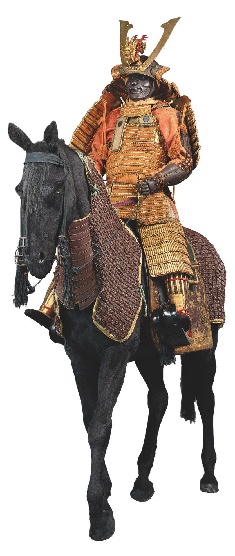 Pferderüstung (Bagai) und Pferdeausrüstung (Bagu), Edo-Zeit: 1603–1868 (Pferdeausrüstung); 2. Hälfte 19. Jh. (Pferderüstung) Eisen, Holz, Leder, Gold, Hanf, Rüstung (Tachidō Tōsei Gusoku), Zugeschrieben: Myōchin Nobuie (kaō), Späte Edo-Zeit, 19. Jh. Eisen, Lack, Gold, Schnürung © The Ann & Gabriel Barbier-Mueller Museum, Dallas Foto: Brad Flowers