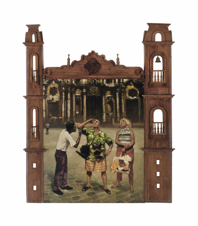 "Los Carpinteros, ""Catedral"", Öl auf Leinwand, geschnitzter Holzrahmen, Metallglocke, 1995, 255,3x214x16,5cm, Abb.: Christie's, New York"