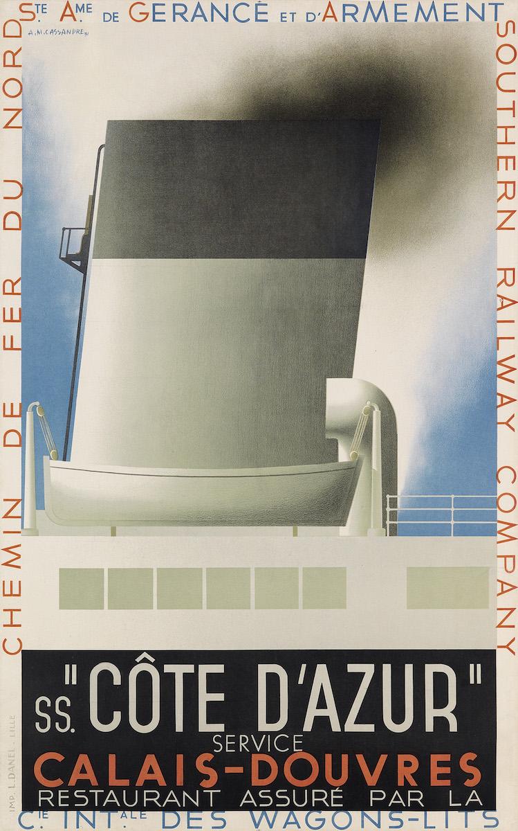 "Adolphe Mouron Cassandre, ""Côte d'Azur"", 1931, Taxe: 7000 $, Foto: Swann Auction Galleries, New York"