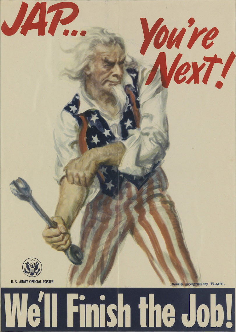 """James Montgomery Flagg, """"Jap… You're next! / We'll Finish the Job!"""", 1945, 49,5x35,5cm, Taxe 800$, Foto: Swann Auction Galleries, New York"""