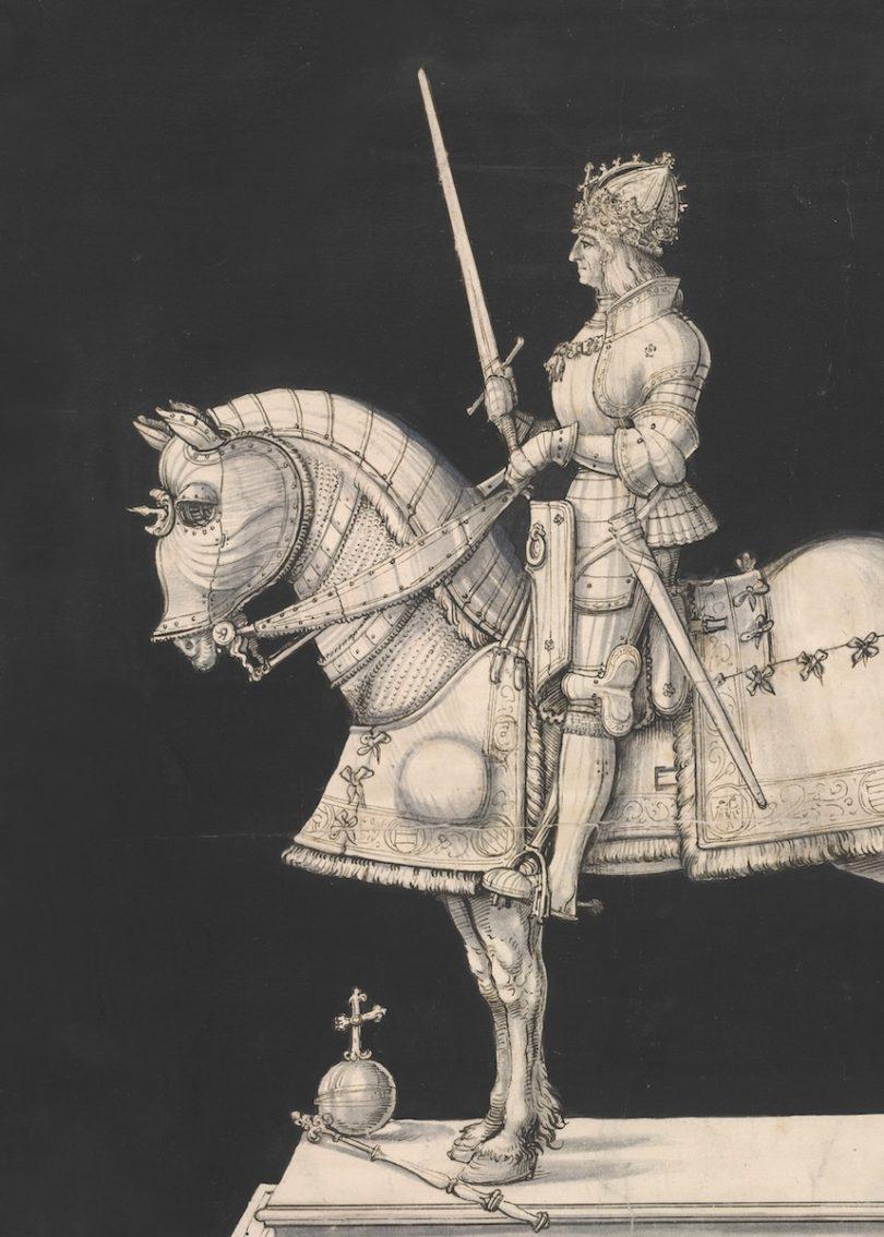 Hans Burgkmair d. Ä., Entwurf zu einem Reiterstandbild Maximilians I. bei St. Ulrich und Afra, Augsburg, um 1508/1509, Foto: © Albertina, Wien, Inv.-Nr. 22447.