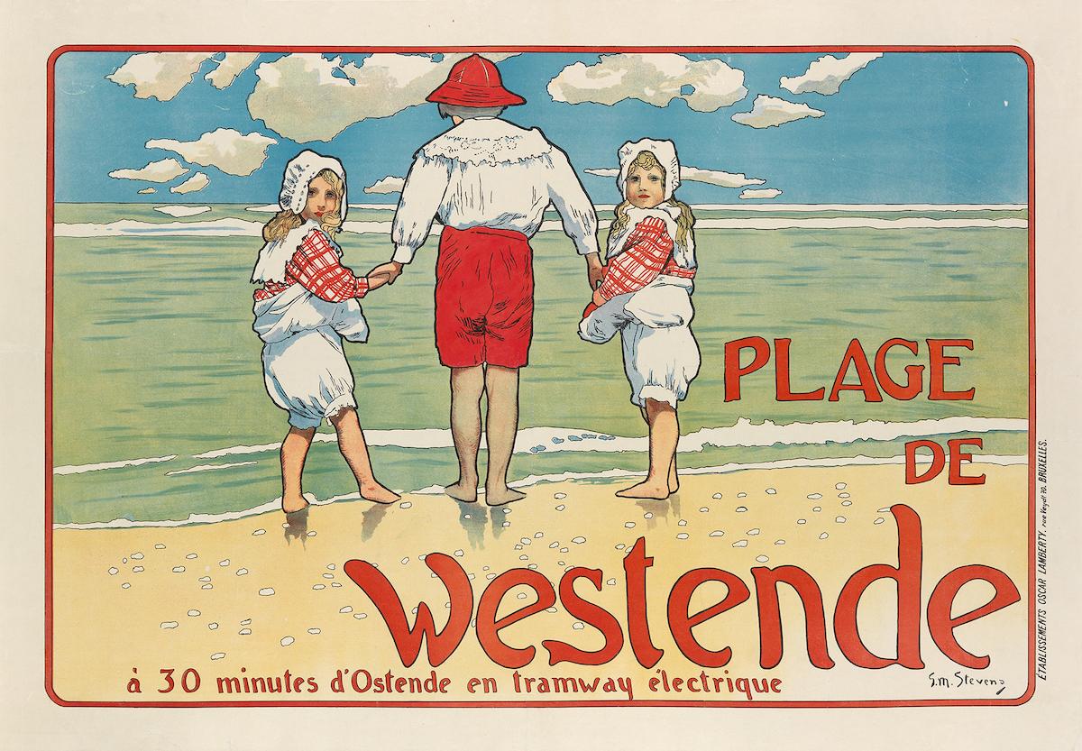 "Gustave-Max Stevens, ""Plage de Westende"", 1898, Taxe 1,500$, Foto: Swann Auction Galleries, New York"