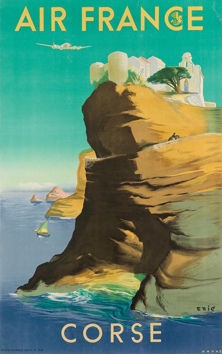 "Raoul Eric Castel, ""Air France / Corse"", 1949, Taxe 700 $, Foto: Swann Auction Galleries, New York"