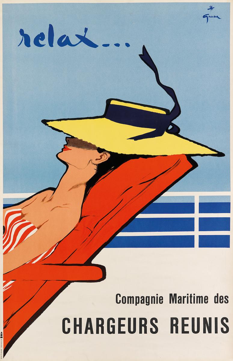 "René Grau, ""Relax... / Chargeurs Reunis"", circa 1950, Taxe 800 $, Foto: Swann Auction Galleries, New York"