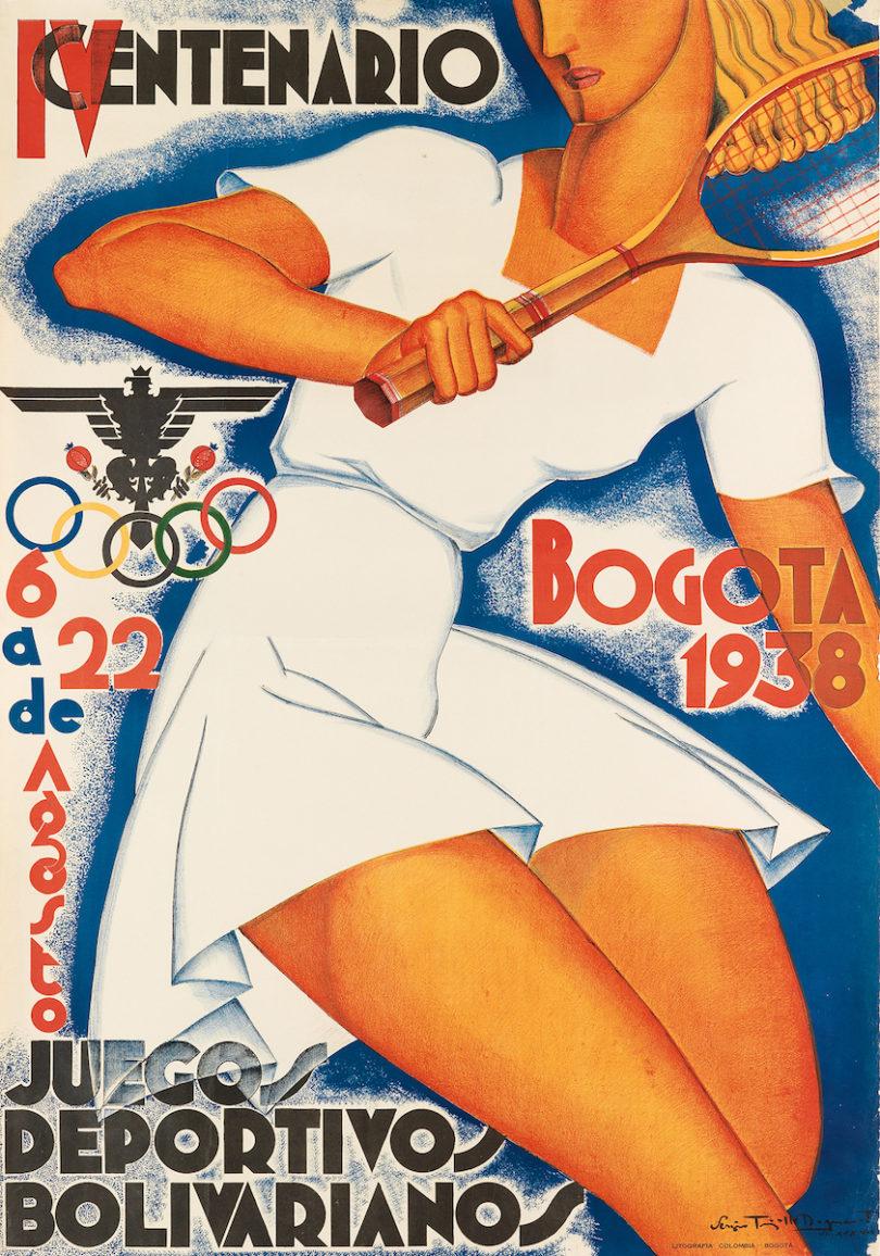 "Sergio Trujillo Magnenat, ""Bogota 1938 / IV Centenario / Juegos Deportivos Bolivarianos"", 1938, 99,75x69,25cm, Taxe 2000$, Foto: Swann Auction Galleries, New York"