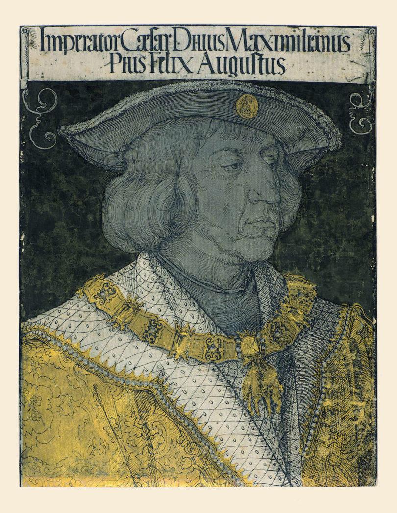 Maximilian I., Jost DeNegker nach Albrecht Dürer, Augsburg, um 1519, Holzschnitt, Foto: © Gotha, Stiftung Schloss Friedenstein, Graphische Sammlung, Inv. Nr. 8,26