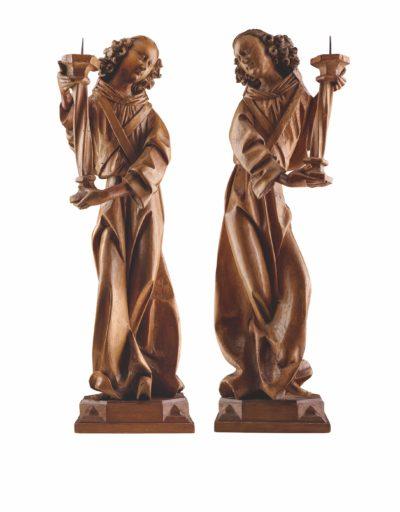 Ein Paar Leuchterengel, um 1500, Werkstatt Veit Stoß, Höhe: 79 und 85 cm, Senger Kunsthandel, Foto: Senger Kunsthandel