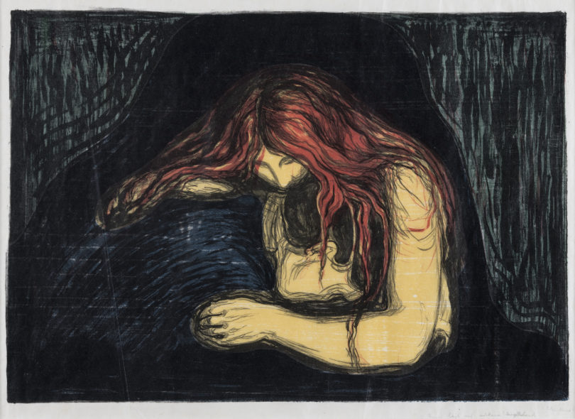 "Edvard Munch, ""Vampire II"", Farblithografie und Farbholzschnitt, 1896, The Savings Bank Foundation DNB, Foto: The Savings Bank Foundation DNB, on loan to Henie Onstad Kunstsenter, Oslo"