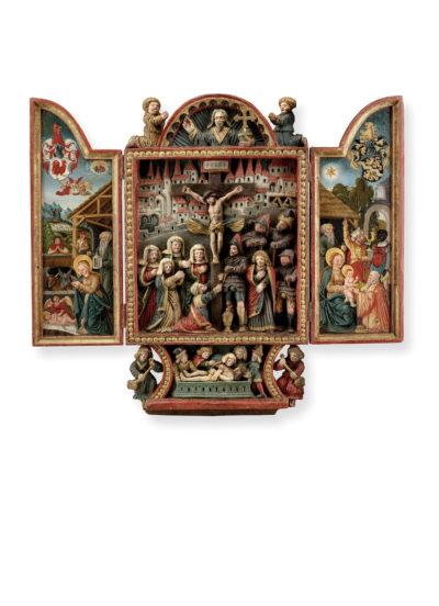 Casper Härtling, kleiner Flügelaltar mit Kreuzigung Christi, Schweiz, St. Gallen, datiert 1558, Senger Kunsthandel, Foto: Senger Kunsthandel