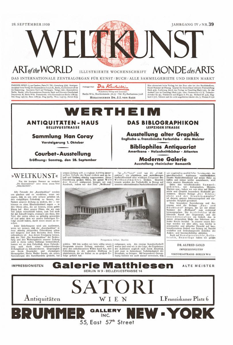Titelblatt der WELTKUNST Jahrgang IV, Nr. 39 aus dem Jahr 1930
