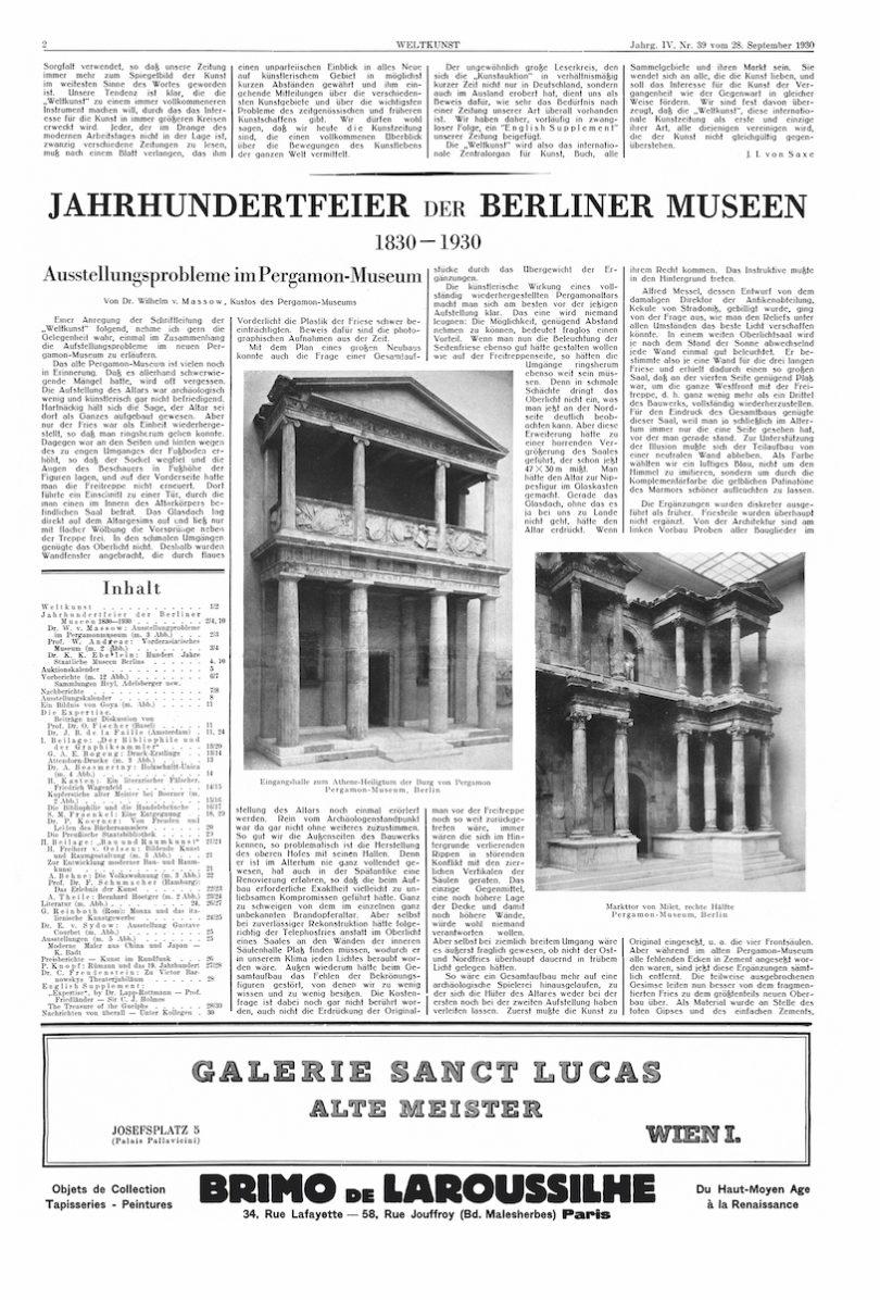 WELTKUNST Jahrgang IV, Nr. 39 aus dem Jahr 1930