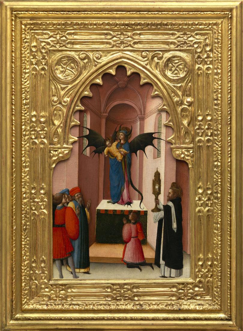 """Antonio Vivarini, """"Sankt Peter vertreibt einen Dämon in der Gestalt der Madonna"""