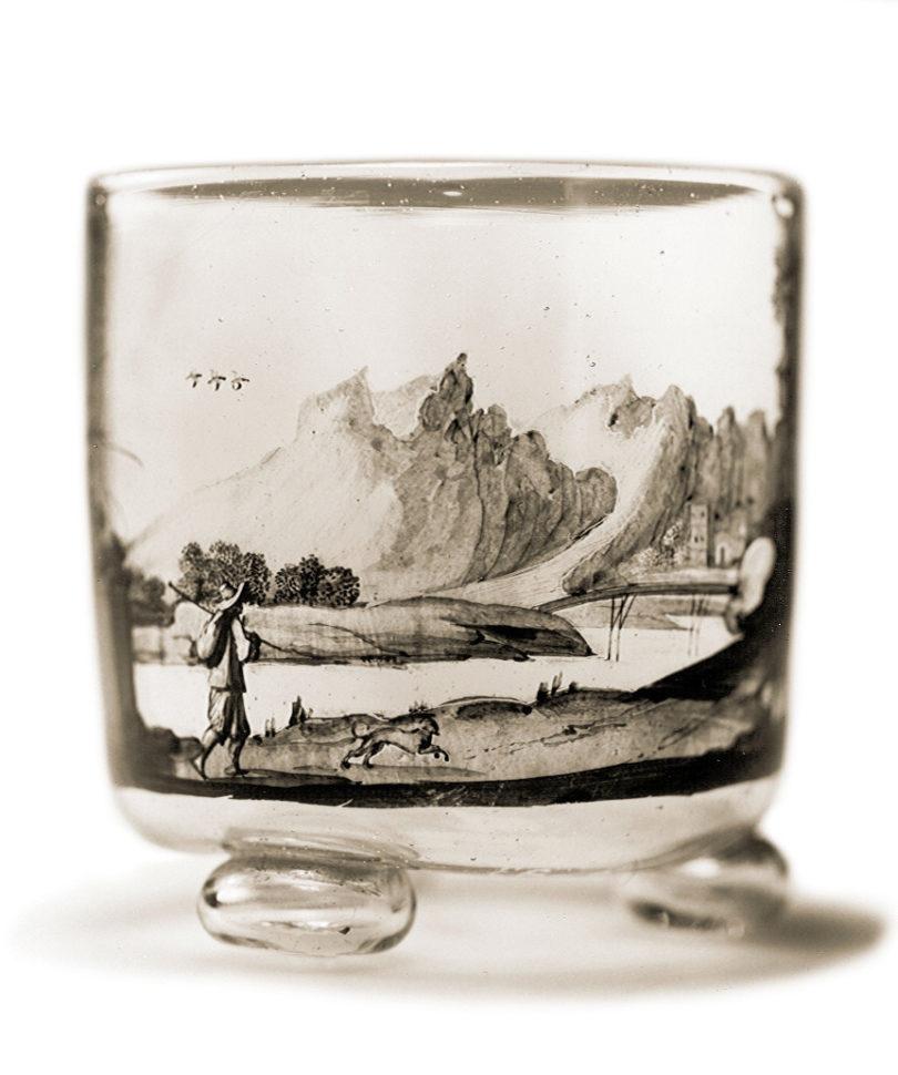 Kugelfußbecher mit Landschaft, Glas, Schwarzlot (radiert), Johann Schaper (nach Gebriel Perelle), Nürnberg, um 1667/1670, Foto: © Kunstpalast Düsseldorf - Glasmuseum Hentrich