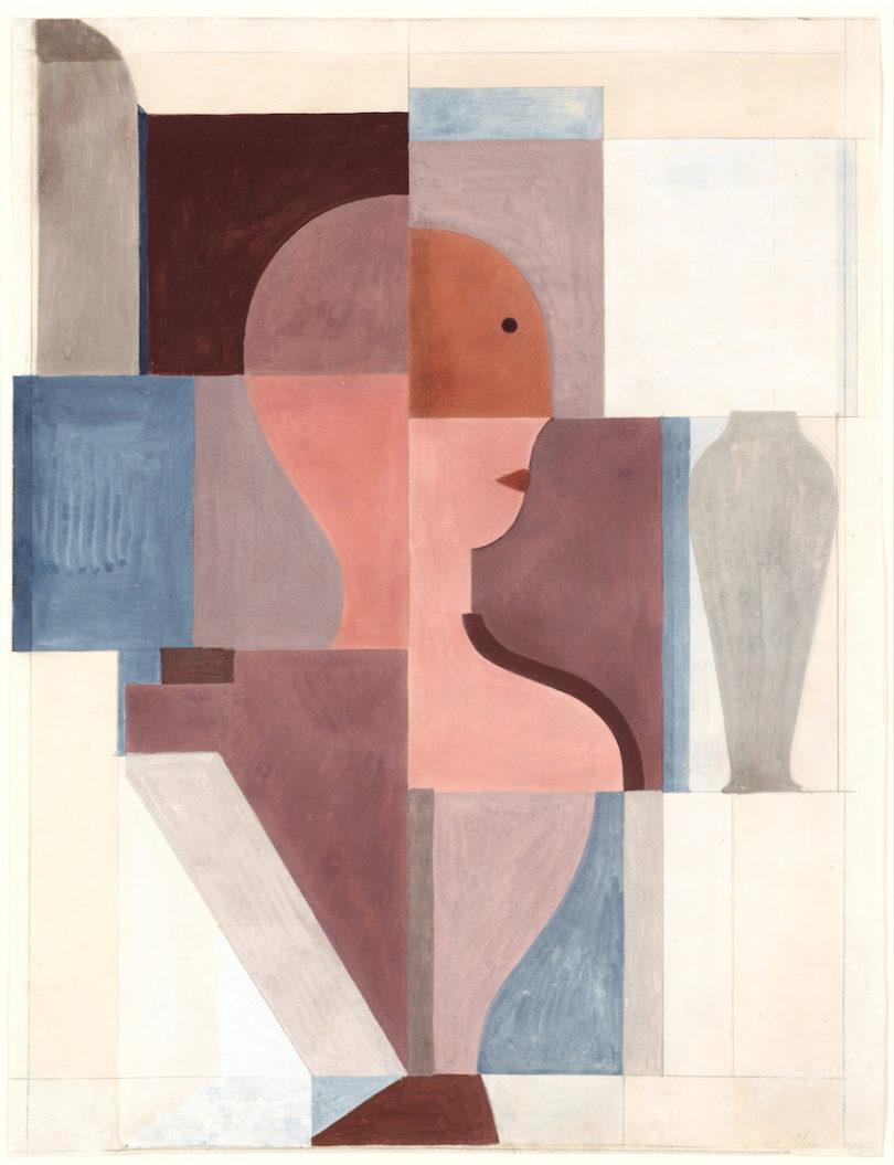 Oskar Schlemmer, Geteilte Halbfigur nach rechts, 1923, Gouache, Bleistift auf Büttenpapier, Stiftung Bauhaus Dessau (I 7420 G), Foto: Stiftung Bauhaus Dessau
