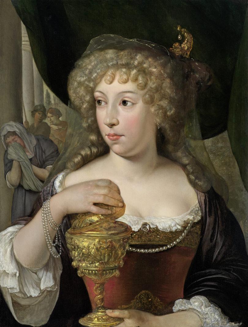 """Eglon van der Neer, """"Sophonisbe mit dem Giftbecher"""", um 1680/85, Öl auf Eichenholz, 25,2 x 19,4 cm, bei Kunsthandlung Daxer&Marschall, Preis 125000 Euro, Foto: Daxer&Marschall, München"""