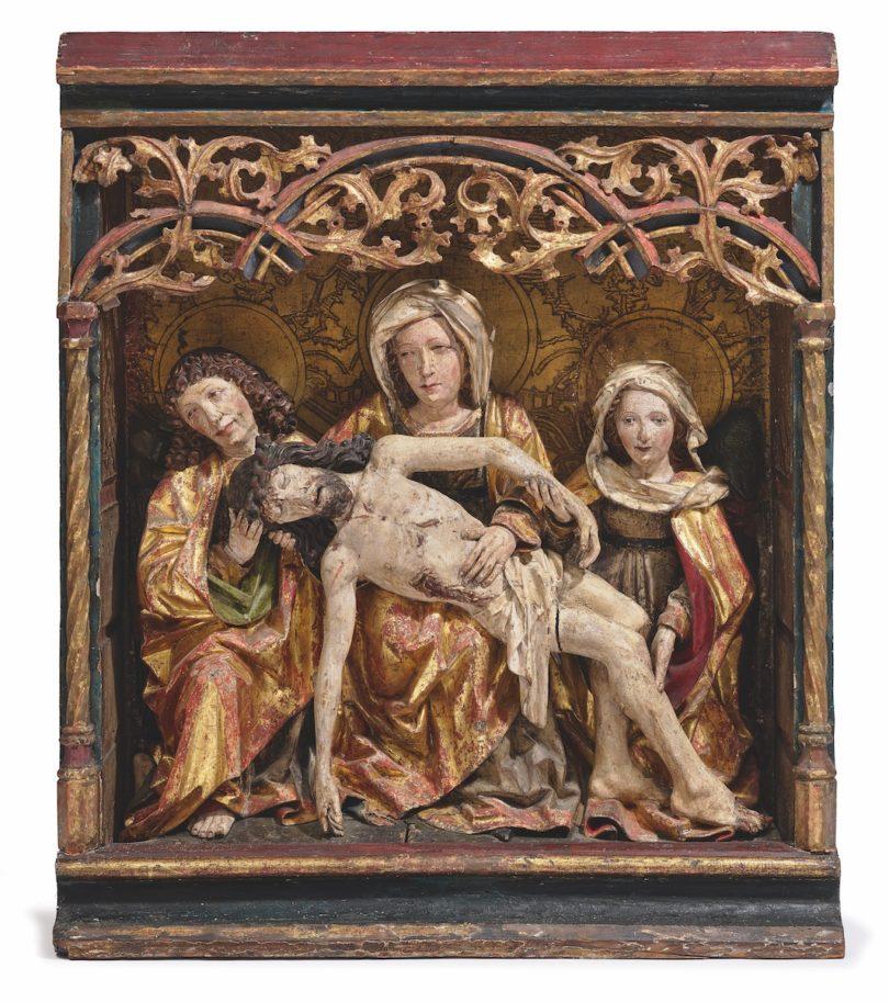 Hans Klocker, Beweinungsgruppe, um 1495/1500, Zirbenholz mit alter Polychromfassung, 74 × 63 cm, Schätzpreis 120.000–180.000 Euro, Foto: Neumeister/Christian Mitko