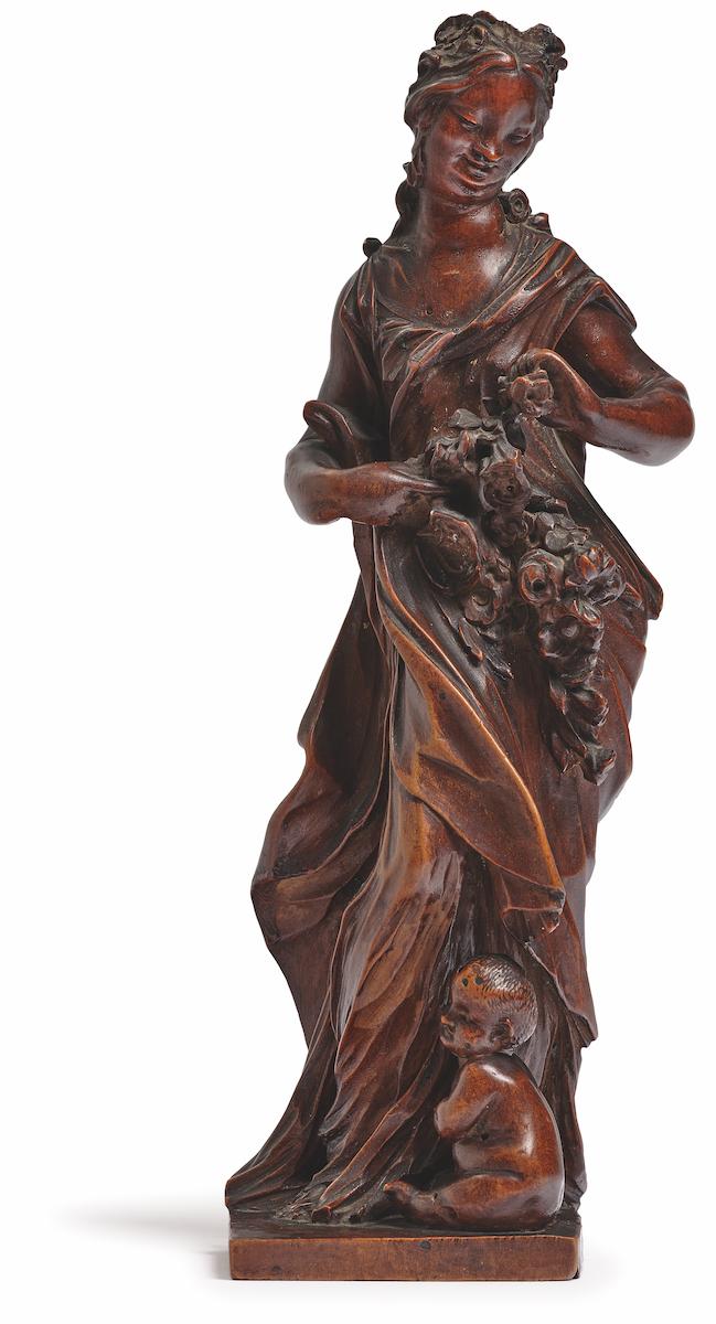 Balthasar Permoser, Flora, um 1710/15, Lindenholz, Höhe 22,5 cm, Schätzpreis 150.000–200.000 Euro, Foto: Neumeister/Christian Mitko