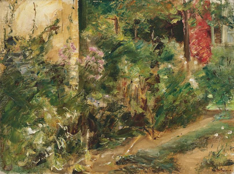 """Max Liebermann, """"Der Nutzgarten in Wannsee nach Nordosten"""", 1920 (?), Öl auf Leinwand, 36 × 48 cm, Schätzpreis 200.000–300 000 Euro, Foto: Neumeister/Christian Mitko"""