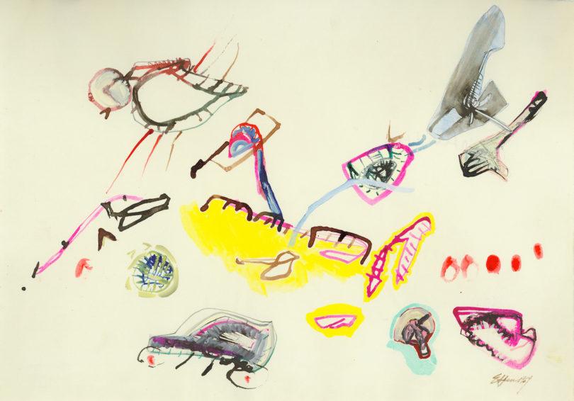 """Eva Hesse, """"No title"""", 1964, Stift, Wasserfarbe, Gouache und Collage auf Papier, 29.4 × 42.1 cm, Allen Memorial Art Museum, Oberlin College, Oberlin, OH., Schenkung von Helen Hesse Charash, 1983.106.1, Foto: © The Estate of Eva Hesse. Courtesy Hauser & Wirth"""