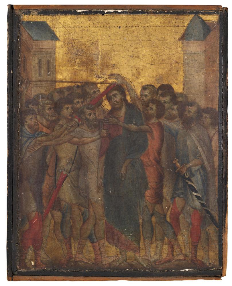 """Cimabue, """"Die Verspottung Christi"""", Eitempera und Goldgrund auf Pappelholz, versteigert bei Acteon Senlis am 27. Oktober 2019 für 24,2 Millionen Euro"""