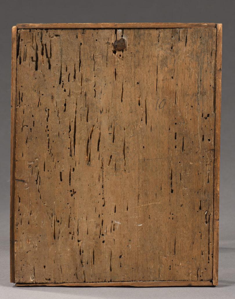"""Die Rückseite der 25,8 x 20,3 cm kleinen Tafel. Cimabue, """"Die Verspottung Christi"""", Eitempera und Goldgrund auf Pappelholz."""