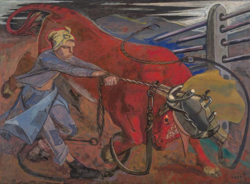 """Elisabeth Voigt, """"Der rote Stier"""", 1944-1961, Öl auf Leinwand, 130 x 180 cm, Museum der bildenden Künste Leipzig, Nachlass Elisabeth Voigt, Foto: bpk/Museum der bildenden Künste Leipzig, Michael Ehritt"""