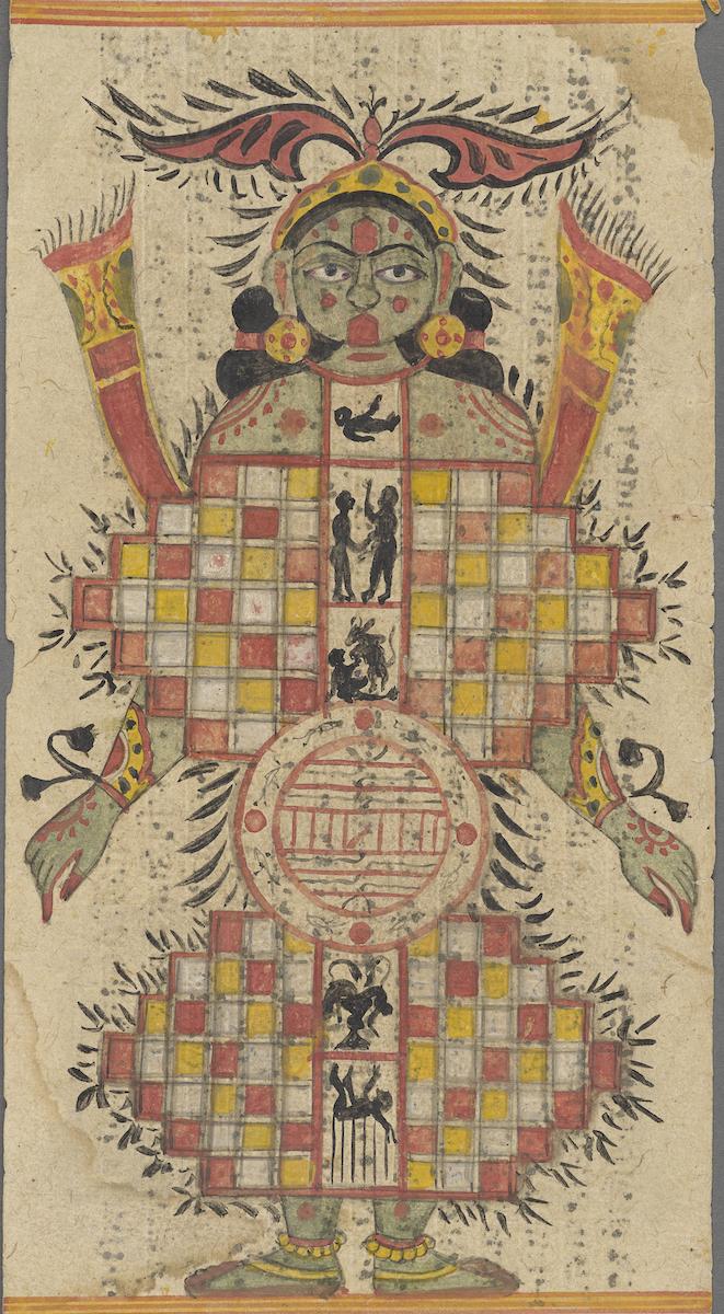 Folio aus einer Handschrift des Sangrahanisutra, Lokapurusha – das Abbild der Welt Gujarat, 18. Jh., Schenkung Eva und Konrad Seitz, Abb.: © RJM, Foto: Patrick Schwarz, rba 2019