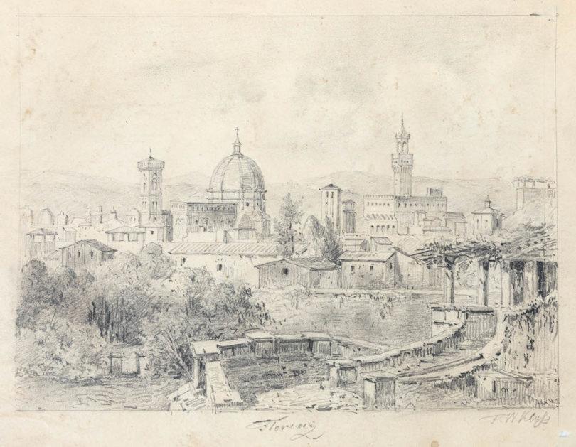 Eine Florenzzeichnung des Landschaftsmalers Friedrich Wilhelm Klose, um 1830/50; ein Konvolut von 40 seiner italienischen Veduten soll 25000 Euro kosten, Foto: Leo Spik, Berlin