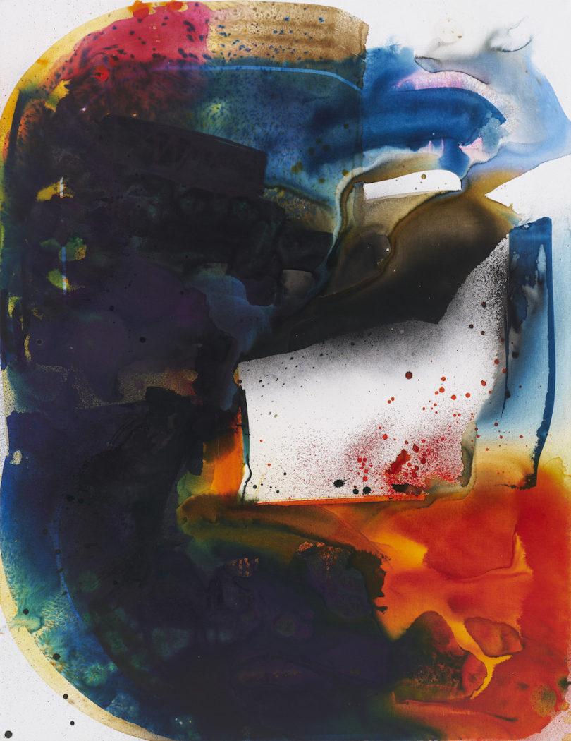 Max Frintrop, Ohne Titel, (Aphex Twin), 2019, Tusche, Acryl, Pigmente auf Leinwand, 220 x 170 cm, Courtesy der Künstler und Berthold Pott Galerie, Foto: Ben Hermanni