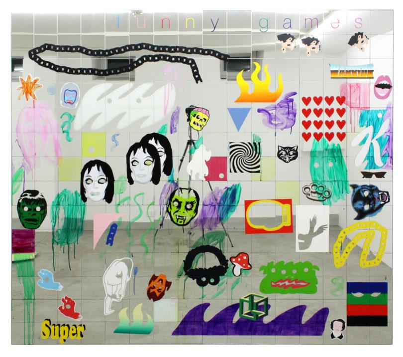Lukas Glinkowski, Funny games, 2018, Öl, Glasfarbe und Spiegelfliesen auf Holzkonstruktion (vierteilig), 210 x 240 x 5 cm, © Lukas Glinkowski, Foto: Lukas Glinkowski
